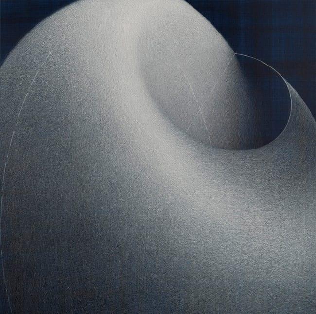 The Myth of Interiority - To curve the spine 2012 Détail d'un quadriptyque, crayons blancs sur papier préparé à l'acrylique, 50 x 50 cm, photographie Claude Almodovar