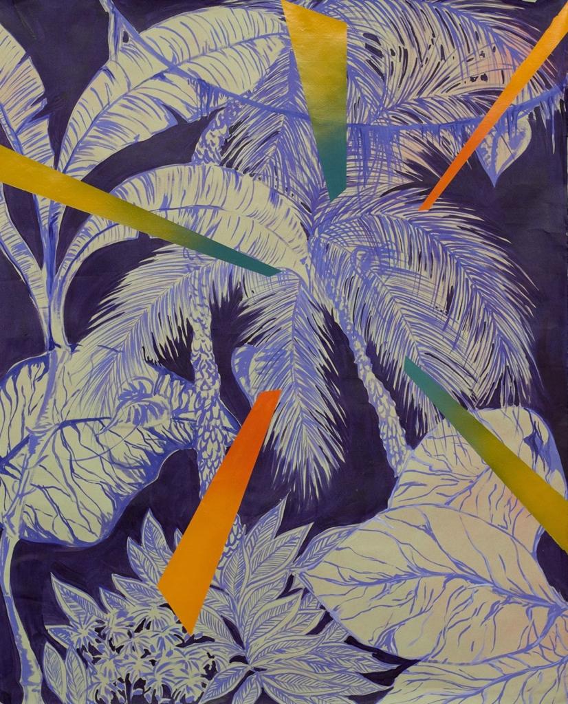 Delphine Trouche, Seapunk, 2013, acrylique et huile sur papier, 120 X 90 cm.