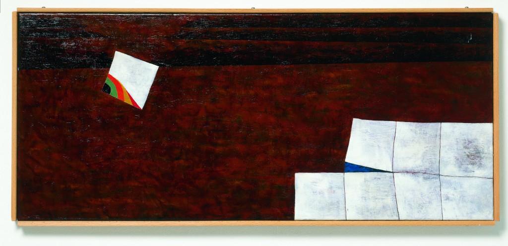 Gottfried HONEGGER Teilung 1955 Huile sur toile 35 x 80 cm FNAC: 02-1411 Dépôt du Centre National des Arts Plastiques Espace de l'Art Concret – Donation Albers-Honegger