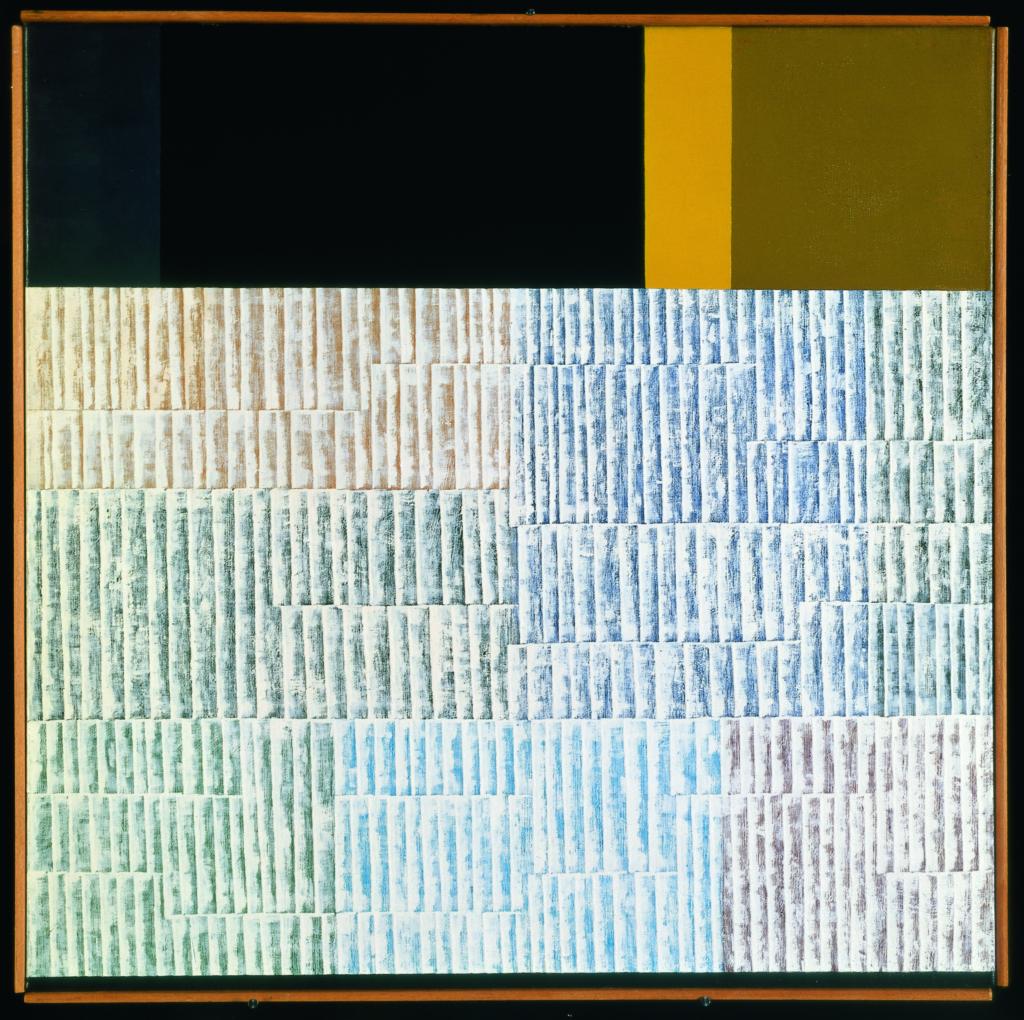 Gottfried HONEGGER Sans titre 1958 Huile sur toile 70 x 70 cm FNAC: 02-1412 Dépôt du Centre National des Arts Plastiques Espace de l'Art Concret – Donation Albers-Honegger