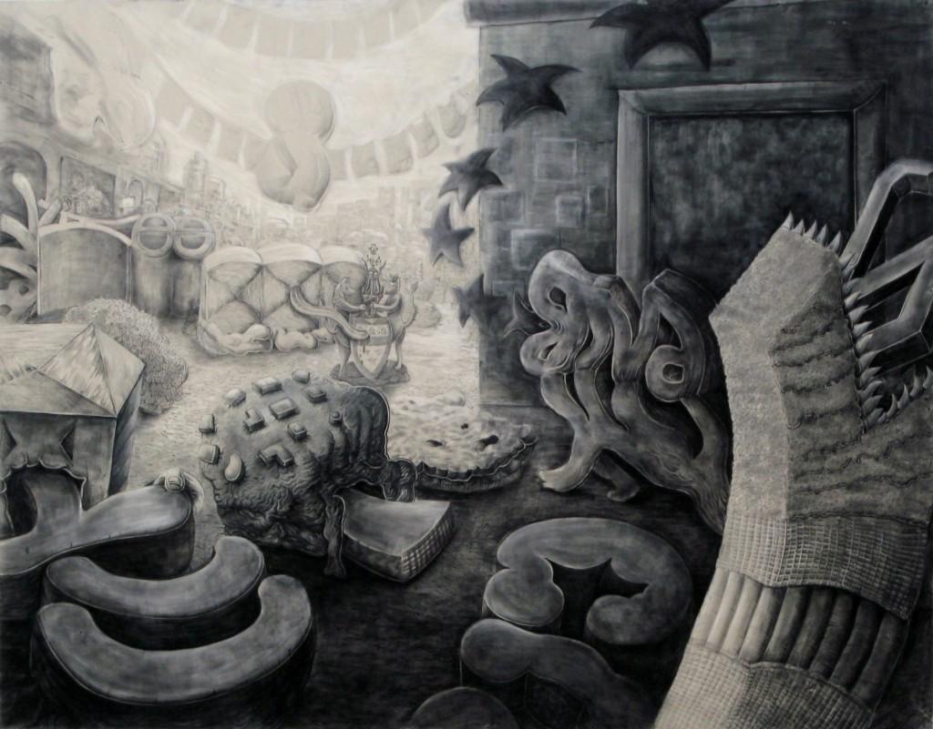 Quentin Spohn, sans titre, 2012, pierre noire et pastel sur toile, 110x150 cm