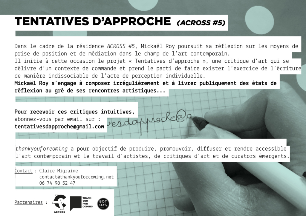 ACROSS #5 – PROJET #1 TENTATIVES D'APPROCHE