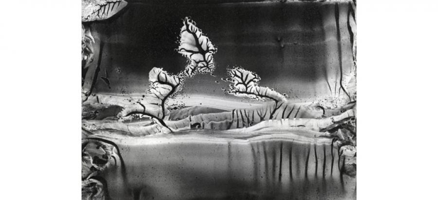 Roland Flexner, Sans titre (LG33) 2011 - Graphite liquide sur papier -14cm x 18cm. Courtesy of the artist.