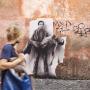«Si je reviens», Pasolini,Rome, 2015 Sérigraphie en situation © ADAGP, Paris, 2016PASOLINI. 40 ans après son assassinat. Collage à Rome, Ostia, Naples, Matera, Mai/Juin 2015Pasolini 2015