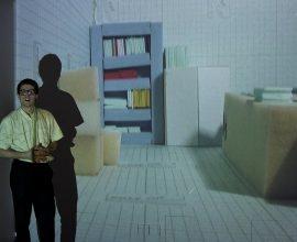 Valentin Lewandowski, Flammarion (2016), Performance avec projection vidéo (dimensions variables), texte écrit par Valentin Lewandowski. Exposition D'autres possibles, Pavillon Vendôme, Clichy, 2016
