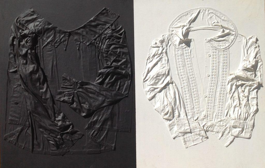 Maria Inferrera : Bianco e nero, 80x120cm, matières textiles et peinture sur toile