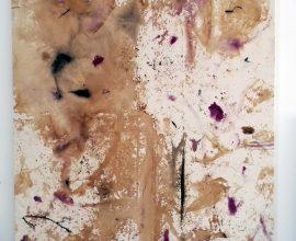 Quentin Derouet : La rose de rien 2016, rose, rose brulée, rose macérée sur toile, 150 x 200cm