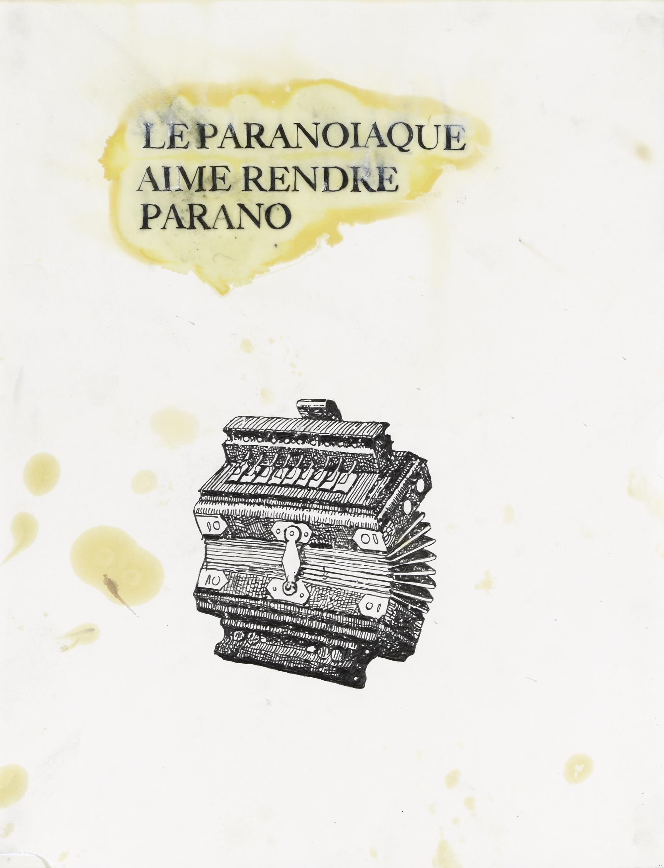 Gérald Panighi, Le paranoïaque aime rendre parano, 50x65 cm. Crayon, huile et huile de lin sur papier, 2010