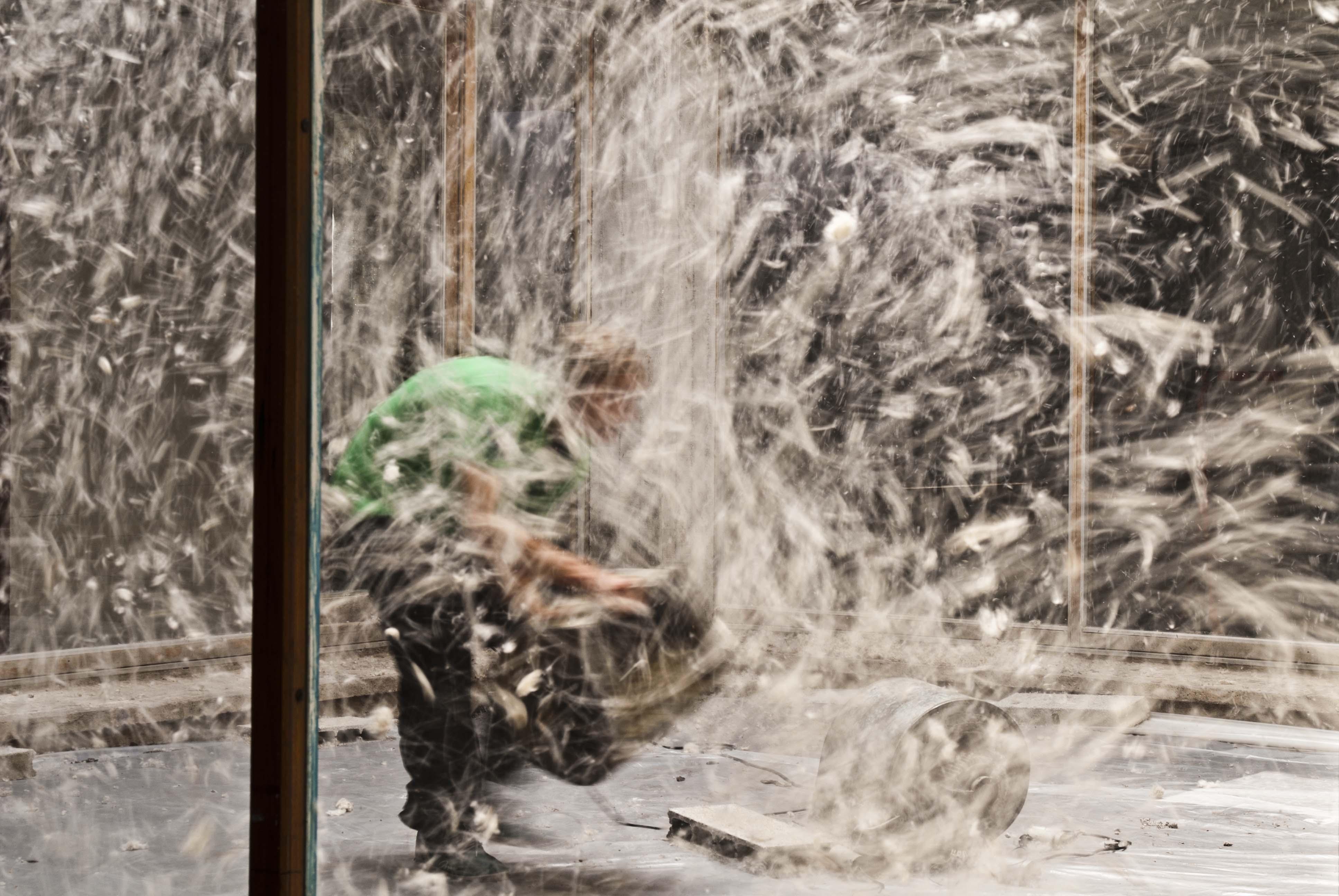 Vivien Roubaud, Pollen de peuplier, soufflerie, centre-trente mètres cubes d'air, deux-cent-vingt volts, 2010 - © Vivien Roubaud / Galerie In Situ - Fabienne Leclerc, Paris