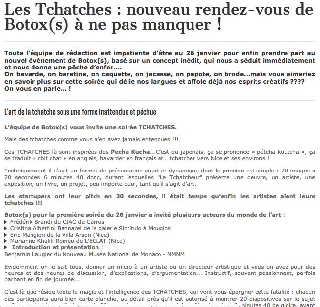 Art Côte d'Azur – Les Tchatches