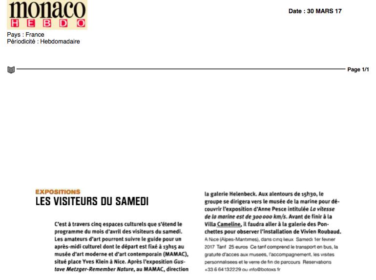 Monaco hebdo- Les Visiteurs Du Samedi 1 fevrier