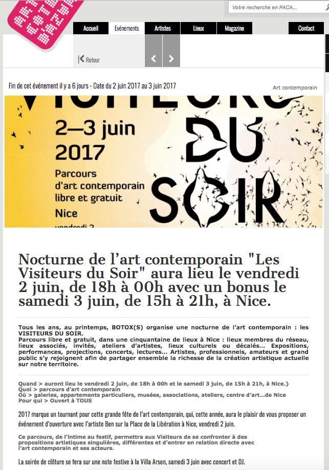 Art Cote d'Azur – Les Visiteurs Du Soir 2017