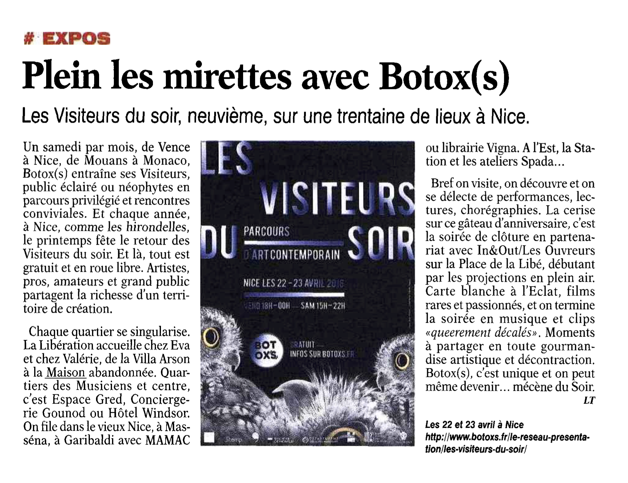 La Tribune Bulletin Côte d'Azur –  15 avril – Les Visiteurs du Soir 2016