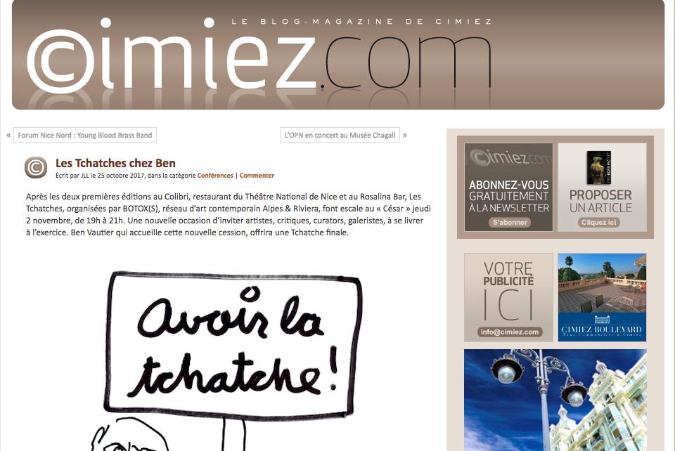 Article Cimiez.com – Les Tchatches du 2 novembre 2017 au César (atelier de Ben)