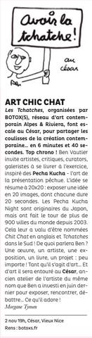 Article La Strada – Les Tchatches du 2 novembre 2017 au César (atelier de Ben)