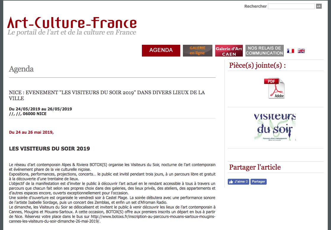Art-Culture-France – Les Visiteurs du Soir 2019