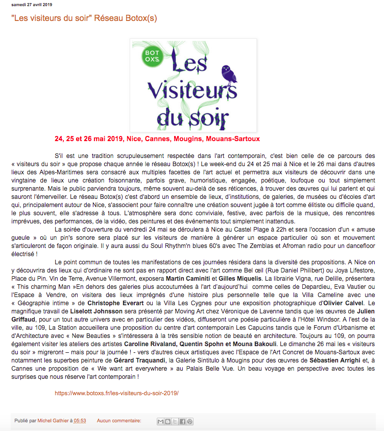 L'art de Nice – Les Visiteurs du Soir 2019