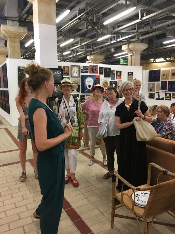 """Visite de l'exposition """"La vie est un film"""" de Ben et ses invités, par Christine Parasote, Le 109 © Elsa Comiot"""