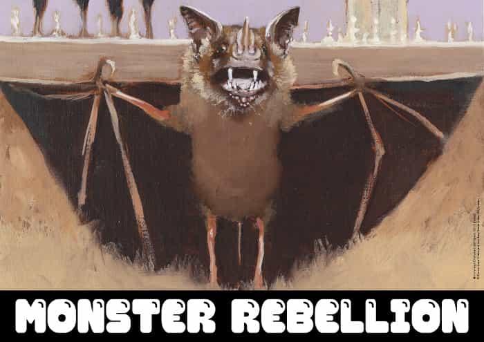 Marvin Gaye Chetwynd, Bat Opera, 2013 (détail). Huile sur toile papier, deux parties, 24.1 x 29.3 x 2.1 cm. © Monster Chetwynd. Courtoisie Sadie Coles HQ, Londres
