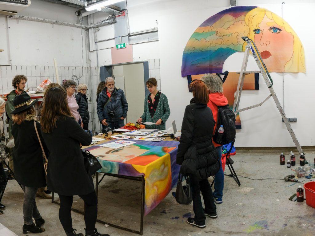 Visite de l'atelier de Charlotte Vitaioli, résidente temporaire à La Station © Evelyne Creusot