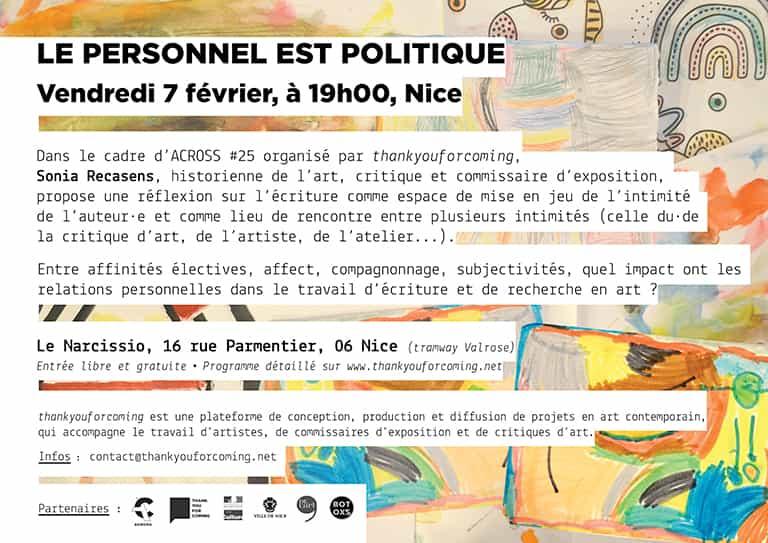 """Conférence-rencontre avec Sonia Recasens, """"Le personnel est politique"""""""