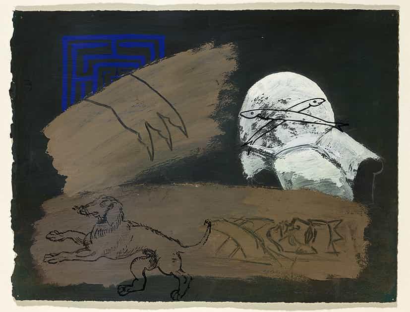 Elisabeth Krotoff : Le roi est mort, 1994, gouache sur papier © François Fernandez