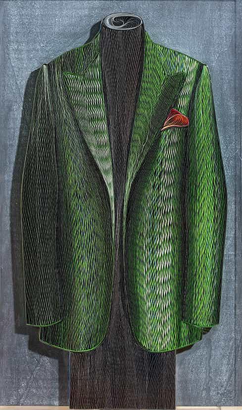 Dianyssopoulos dit Pavlos : Veste avec pochette rouge, 2004, bas-relief en papier © François Fernandez