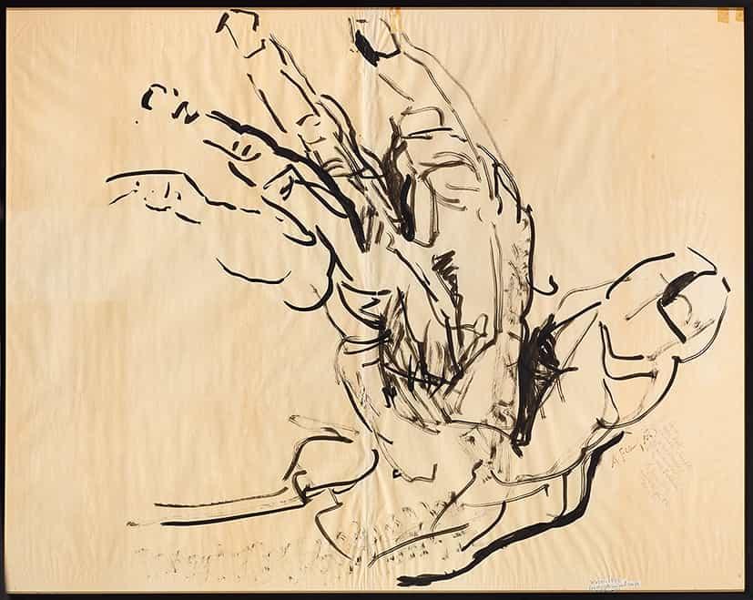 Anne Français : Les doigts qui ont vu ça, 1984, encre de Chine sur papier © François Fernandez