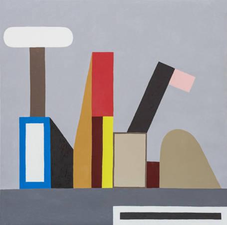 Nathalie Du Pasquier - Untitled (Construction FFF), 2015 - Huile sur toile - 100 x 100 cm - Collection NMNM, n° 2017.19.1 - Acquisition réalisée avec le soutien d'UBS (Monaco) S.A.