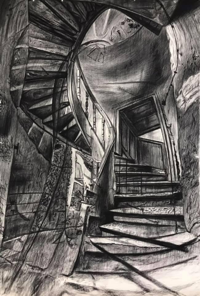 Stairway to ? fusain sur Arches, 160x107cm, 2021