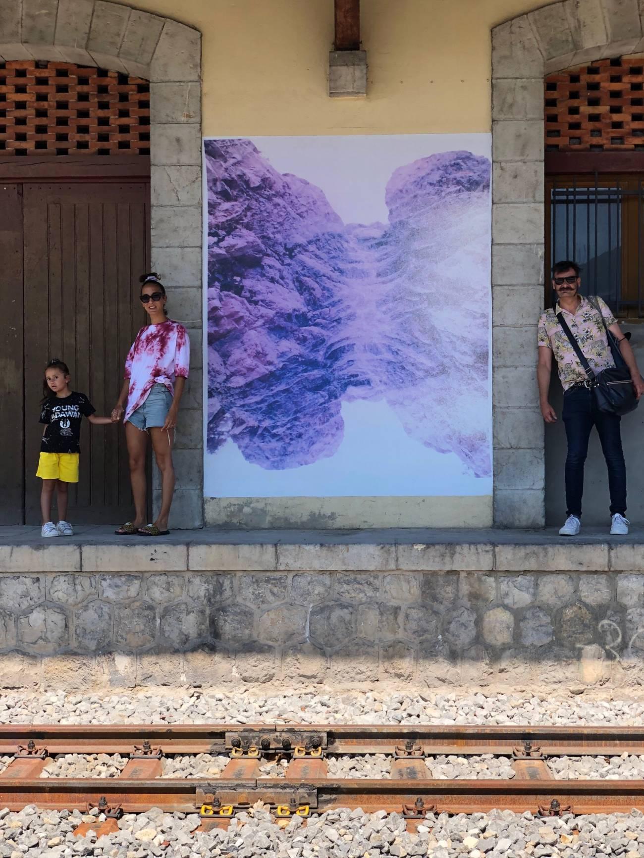 Journal du Train des Pignes - Oeuvre de Sébastien Reuzé à la gare de St André les Alpes © Sébastien Reuzé